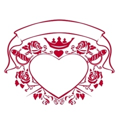Emblem of love - shape heart dagger crown vector