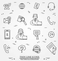 Call center question answer service outline thin l vector