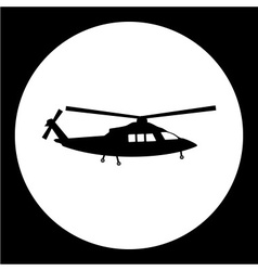 Simple military helicopter isolated black icon vector