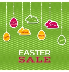 Easter sale poster with hanging price stickers vector