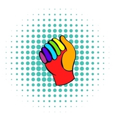 Glove in rainbow colors icon comics style vector