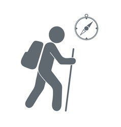 Tourist with backpack and compass icon vector