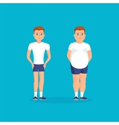 Man with fat abdomen and athletic man vector