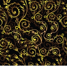 Beautiful pattern with gold floral pattern on a vector