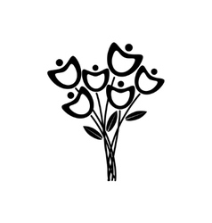 Black and white flowers vector