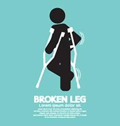 Black Symbol Broken Leg vector image