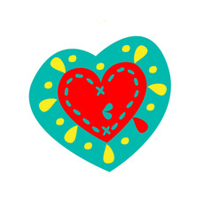 blue and red heart with yellow drops vector image