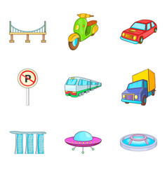 City transport types icon set cartoon style vector