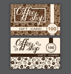 Coffee shop gift cards templates of coffee shop vector image vector image