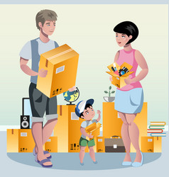 family packing their stuff and prepare for vector image
