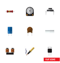 Flat icon electronics set of transistor vector