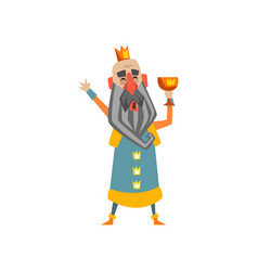 Funny bald king character with golden cup in his vector