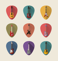 Guitars flat icons set vector