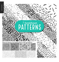 Hand drawn black and white 7 patterns set vector