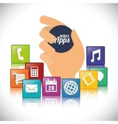 Hand mobile apps design vector