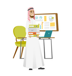 Muslim businessman holding pile of folders vector