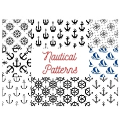 Nautical and marine concept patterns vector