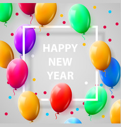 new year celebration poster with shiny balloons on vector image vector image