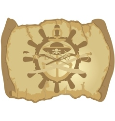 Parchment the ships wheel and ancient weapons vector image