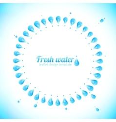 Realistic water drops circle frame vector