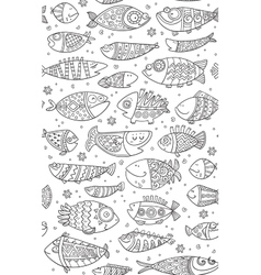 Seamless pattern with decorative fish vector