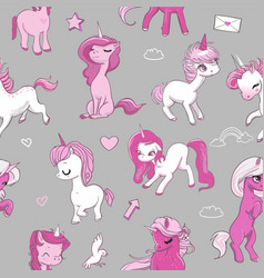 seamless pattern with pink unicorns vector image vector image