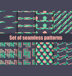 set of seamless patterns with stripes modern vector image