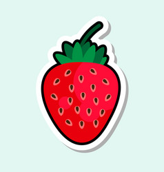 strawberry sticker on blue background colorful vector image