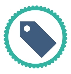 Tag flat cobalt and cyan colors round stamp icon vector