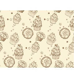 Tasty hand drawing seamless cupcake pattern vector image