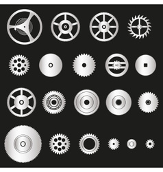 various silver metal cogwheels parts of watch vector image