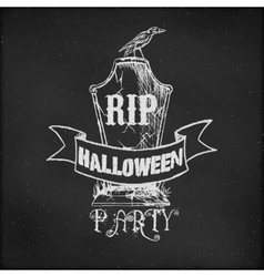 Vintage sketch on blackboard for Halloween Party vector image