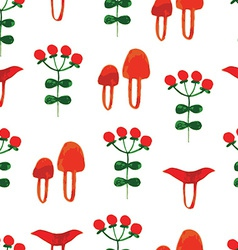 watercolor seamless pattern with wild mushrooms vector image