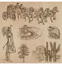 Wild west - hand drawn pack vector