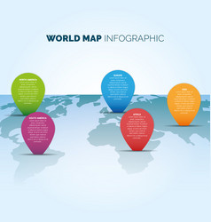 world map infographic with color pointers vector image