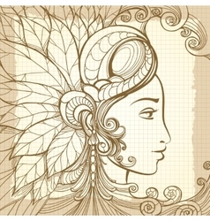 Zentangle woman face on notebook background vector