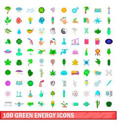 100 green energy icons set cartoon style vector