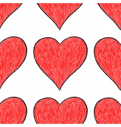 Seamless pattern with red heart sign vector