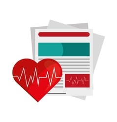 Medical history and heart cardiogram icon vector