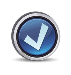 Round button with tick sign vector
