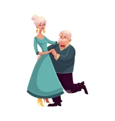 Full height portrait of old senior couple dancing vector