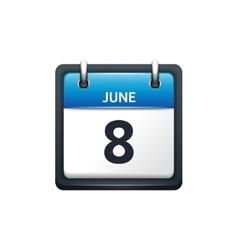 June 8 Calendar icon flat vector image