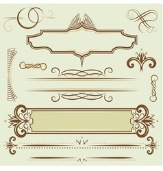 Set monograms and borders vector