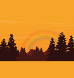 landscape of hill and rainbow silhouettes vector image