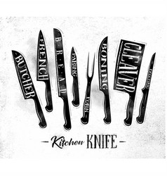 Kitchen meat cutting knifes poster chalk vector