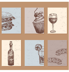 Hand drawn food sketch cards for menu restaurant vector