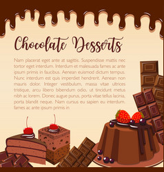 Poster of chocolate desserts and cakes vector