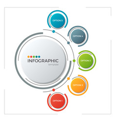 circle chart infographic template with 5 options vector image