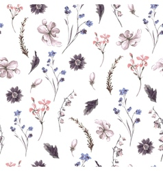 Vintage seamless background with wildflowers vector