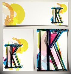 Artistic greeting card letter k vector